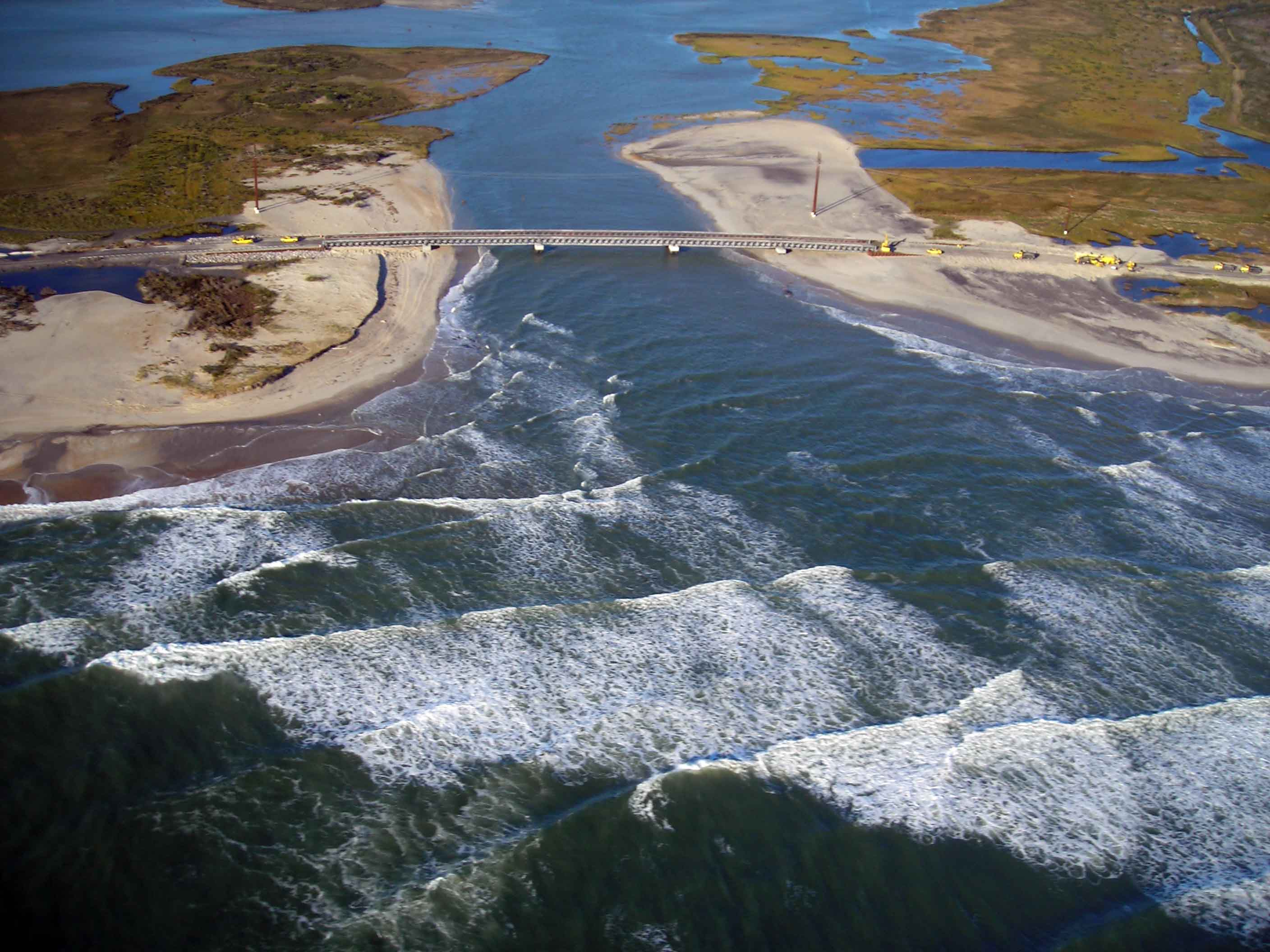 New Inlet, which formed after passage of Hurricane Irene in 2011, following Hurricane Sandy.  Image taken 3 November 2012 by Haiqing Kaczkowski.