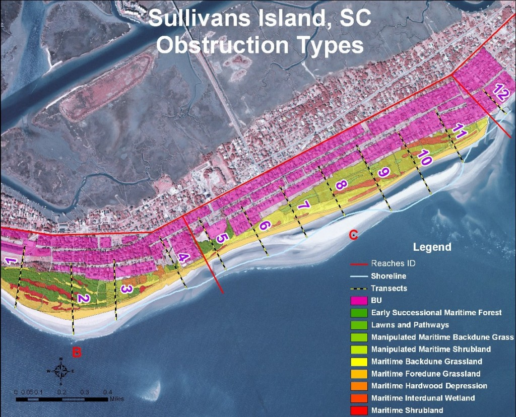 """Habitat distribution map.  Homes are in the """"BU"""" zone.  Sandbars migrating shoreward from the updrift inlet account for decades of beach growth along most of the island."""