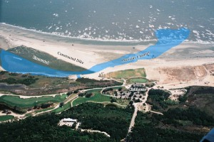 Ocean Course after inlet relocation – the original inlet, which threatened the course, is overlaid in blue.