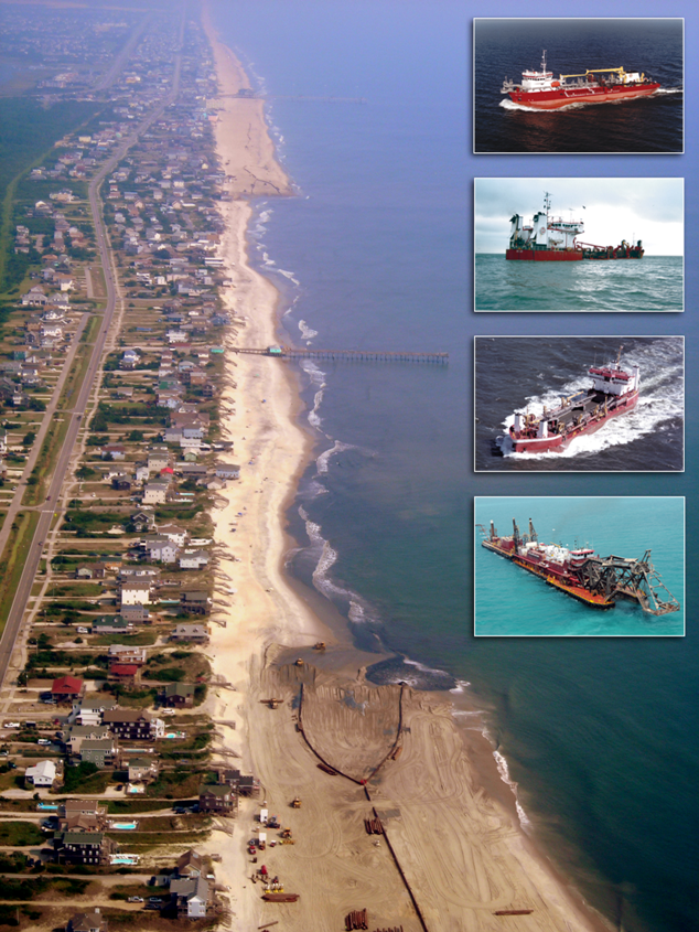 Aerial photos taken before and after nourishment show that ~180 ft of dry beach were added in front of the houses during the project, and the nourished beach remained healthy after Hurricane Irene and fall storms. Bottom left bar-figure indicates the accumulative beach volume changes relative to pre-project conditions (November 2011) from the foredune to the indicated contours. Fully 100% of the volume placed has been retained within the project limits during the first year.