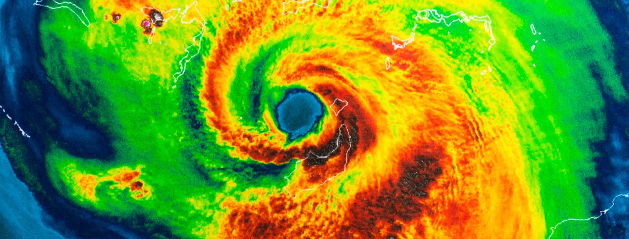 Geocolor Image in the eye of Hurricane Irma. Elements of this im